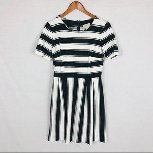 Loft striped dress 4 fit and flare